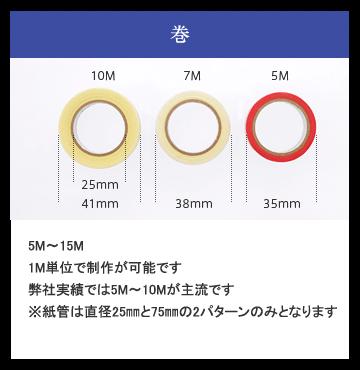 巻、5M~15M 1M単位で制作が可能です 弊社実績では5M~10Mが主流です ※紙管は直径25㎜と75㎜の2パターンのみとなりま